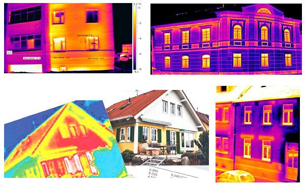 Определение зон утечек тепла и мест значительного перегрева фасадов зданий
