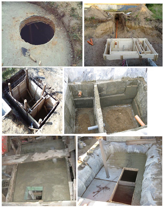 Устройство опалубки и септика из монолитного бетона