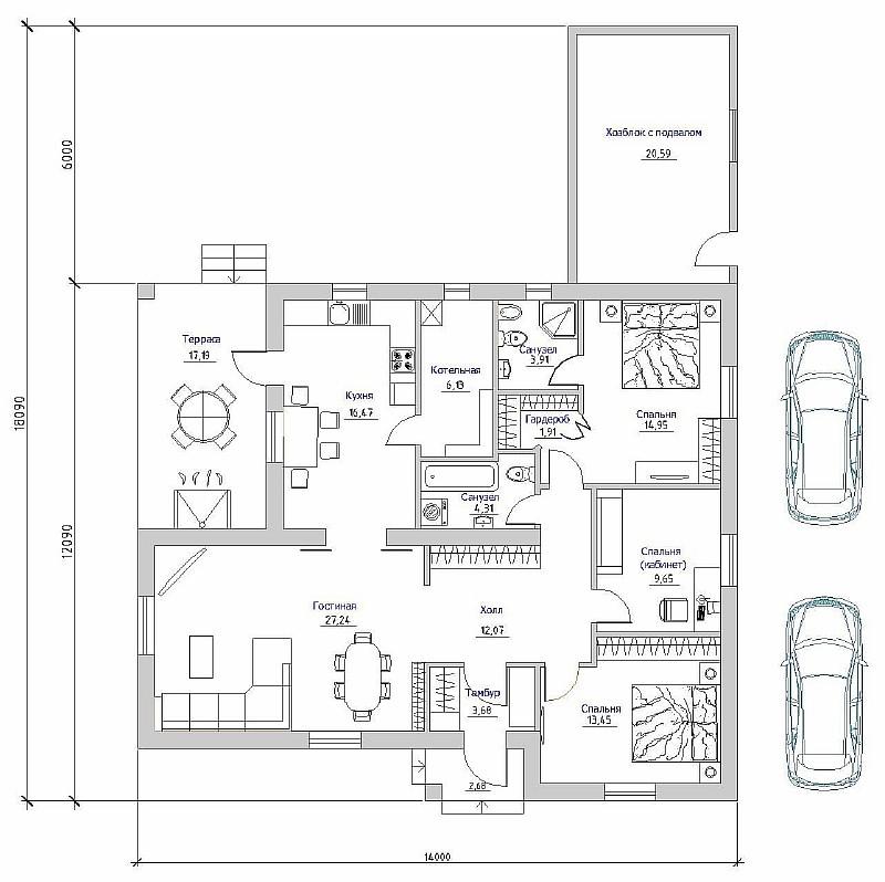 """План одноэтажного загородного дома """"Восточный-1"""""""