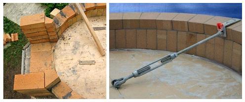Устройство купола с помощью шарнирной опоры в центре пода