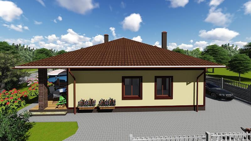 """Одноэтажный бюджетный дом """"Удянский"""" - визуализация проекта"""