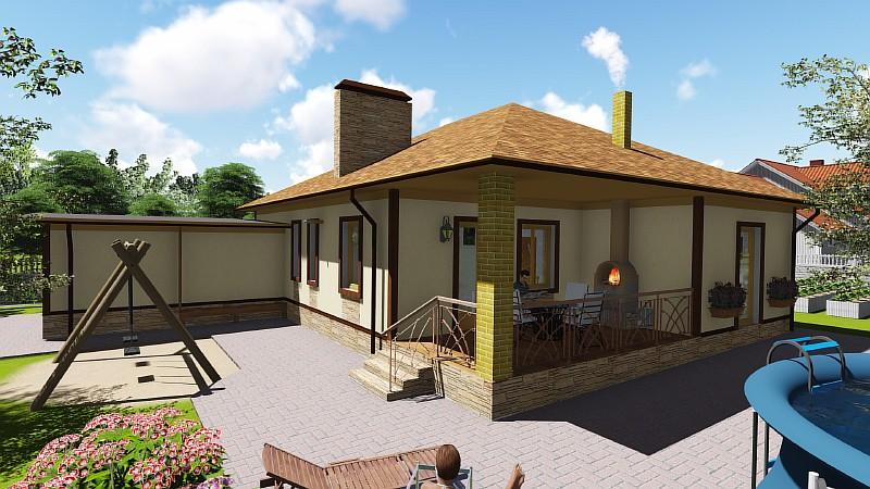Проект одноэтажного дома - визуализация