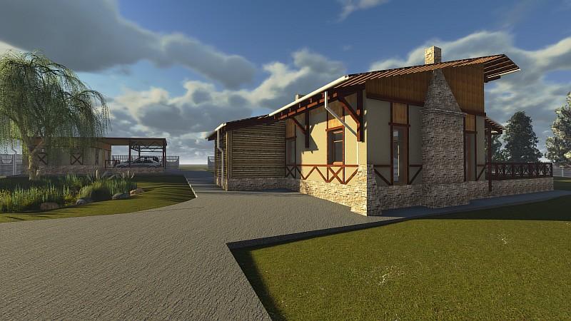 """Визуализация проекта """"Шале в соснах"""" - дом-усадьба"""