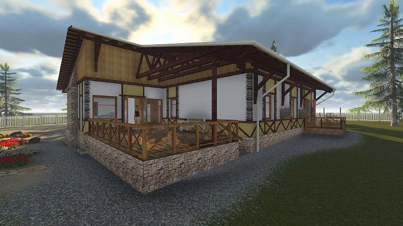 """Проект """"Шале в соснах"""" - одноэтажный дом-усадьба"""