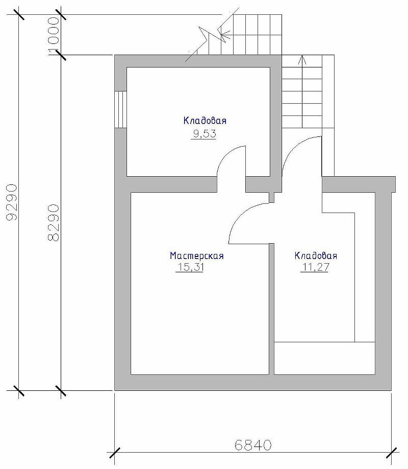 """План цокольного этажа дома """"Артемовский"""" с гаражом"""