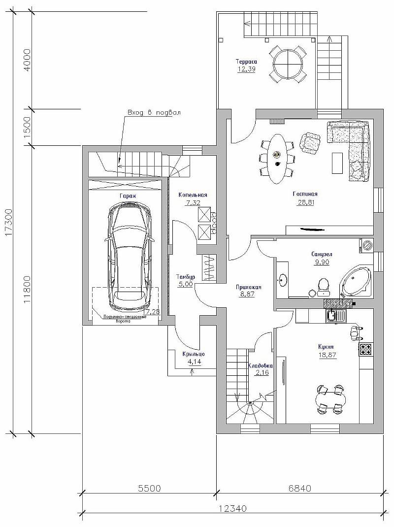 """План 1-ого этажа загородного дома с гаражом """"Артемовский"""""""