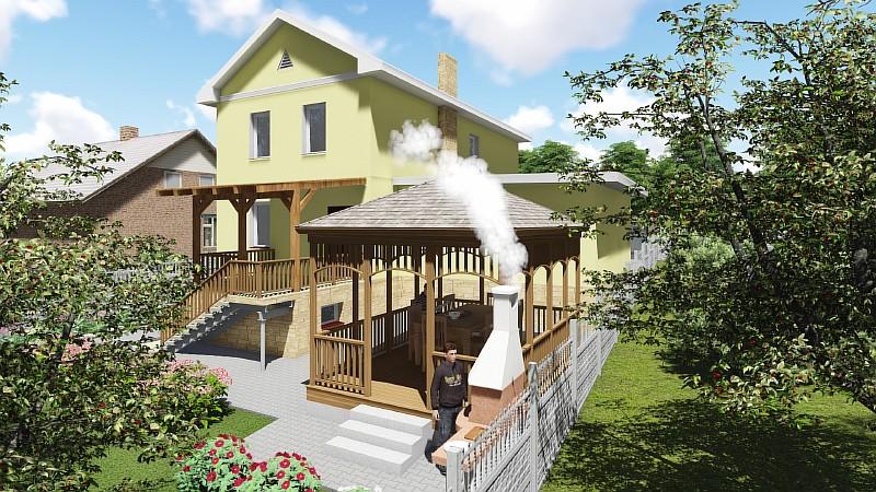 """Двухэтажный дом с гаражом """"Артемовский"""" - визуализация проекта"""