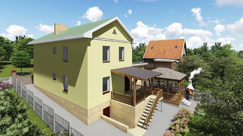 """Проект двухэтажного загородного дома с гаражом """"Артемовский"""" - визуализация"""