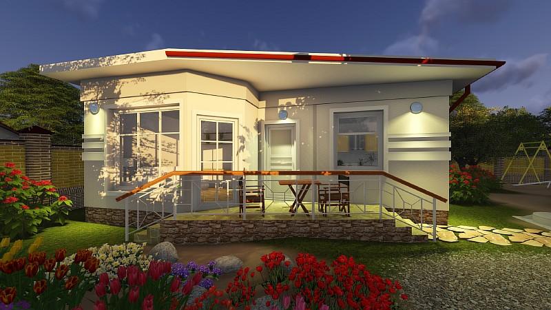 """Визуализация минидома """"Студия-2"""" - одноэтажное бюджетное жилье"""