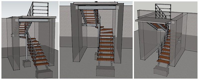 Общий вид металлической лестницы с деревянными ступенями