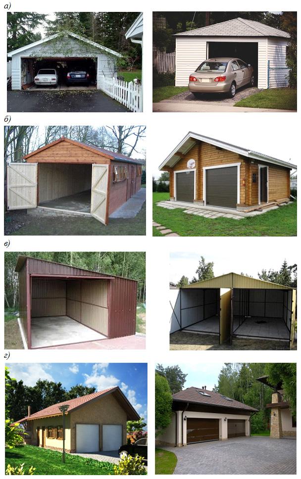 Расположение гаража возле дома; гаражи выполнены из различных строительных материалов