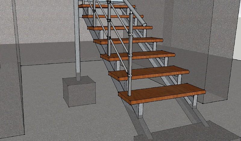 Опирание ступеней на косоуры лестницы