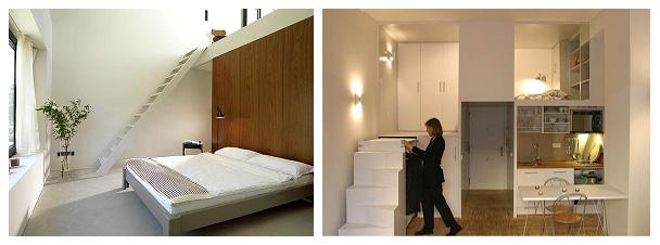 Устройство антресольного этажа в виде спальной зоны, а внизу размещение гардеробной