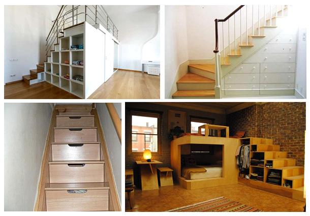 Устройство в лестнице боковых полочек или скрытых ящиков
