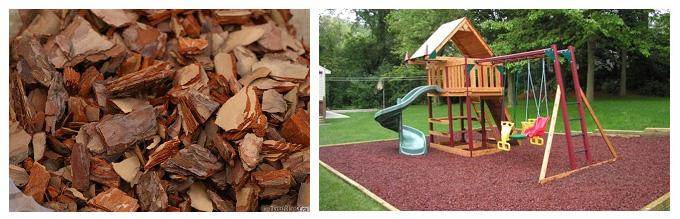 Резаная кора в качестве покрытия детских площадок