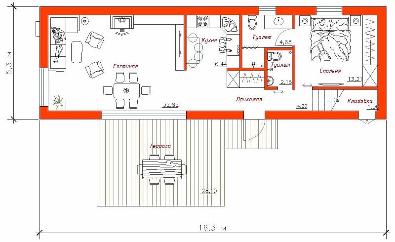 """Планировка 1-ого этажа по проекту загородного дома """"Рацио"""""""
