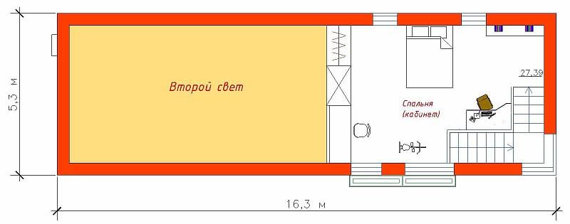 """Планировка 2-ого этажа по проекту жилого дома """"Рацио"""""""