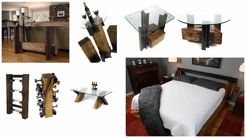 Оригинальная мебель с использованием железнодорожных рельсов