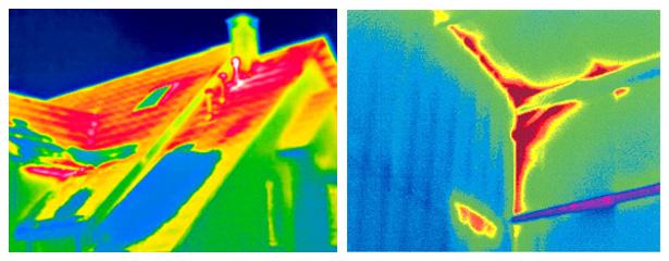 Термограммы, полученные с помощью тепловизора, на которых легко можно определить местонахождения мостиков холода