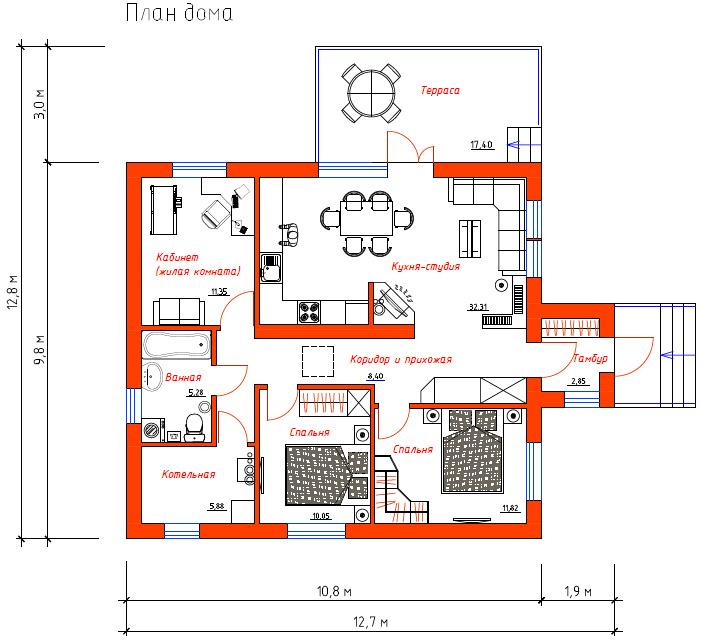 Проект Эко-1. Вариант планировки №1