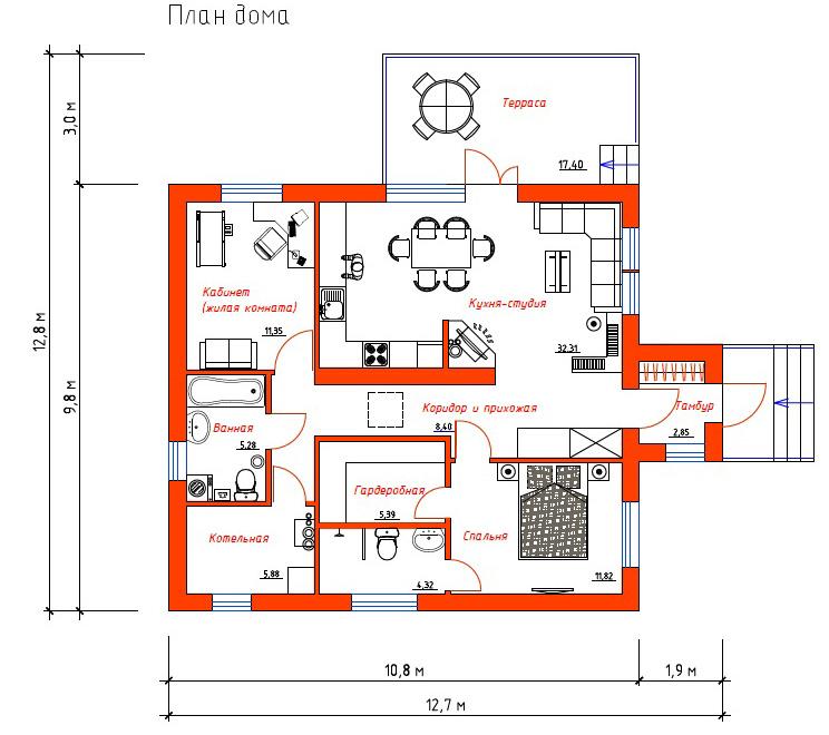 Проект Эко-1. Вариант планировки №3