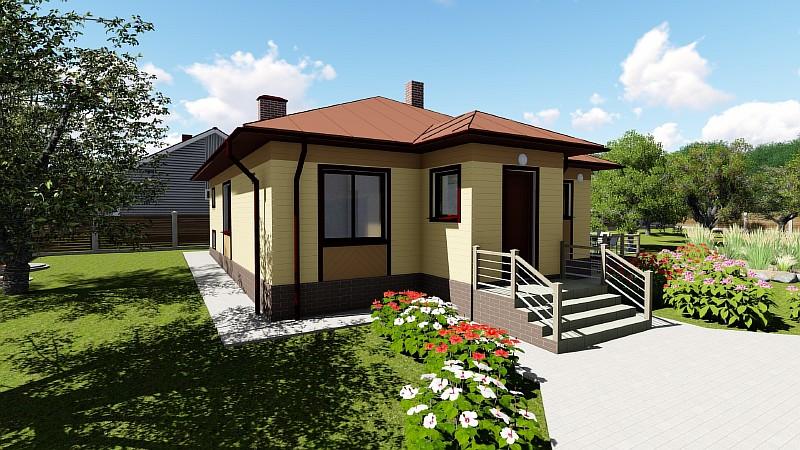 Проект бюджетного одноэтажного жилого дома «Эко-1»