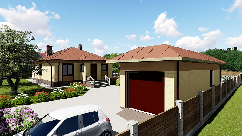 Визуализация проекта одноэтажного жилого дома «Эко-1»