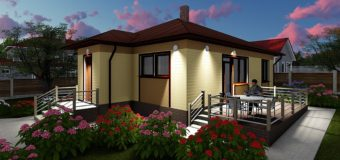 Проект бюджетного одноэтажного жилого дома «Эко-1» (3 варианта планировки)