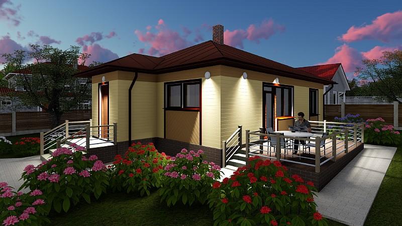 Бюджетный одноэтажный загородный дом Эко-1