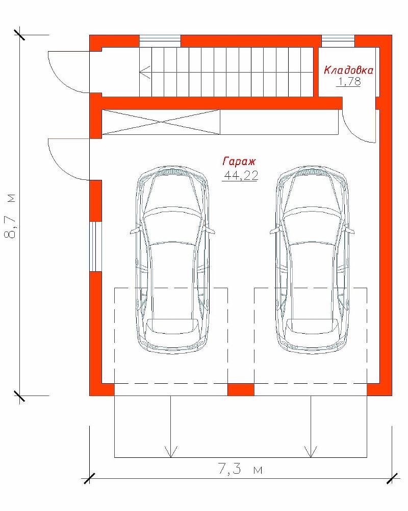 """План гаража для двух автомобилей """"Парочка 2"""""""