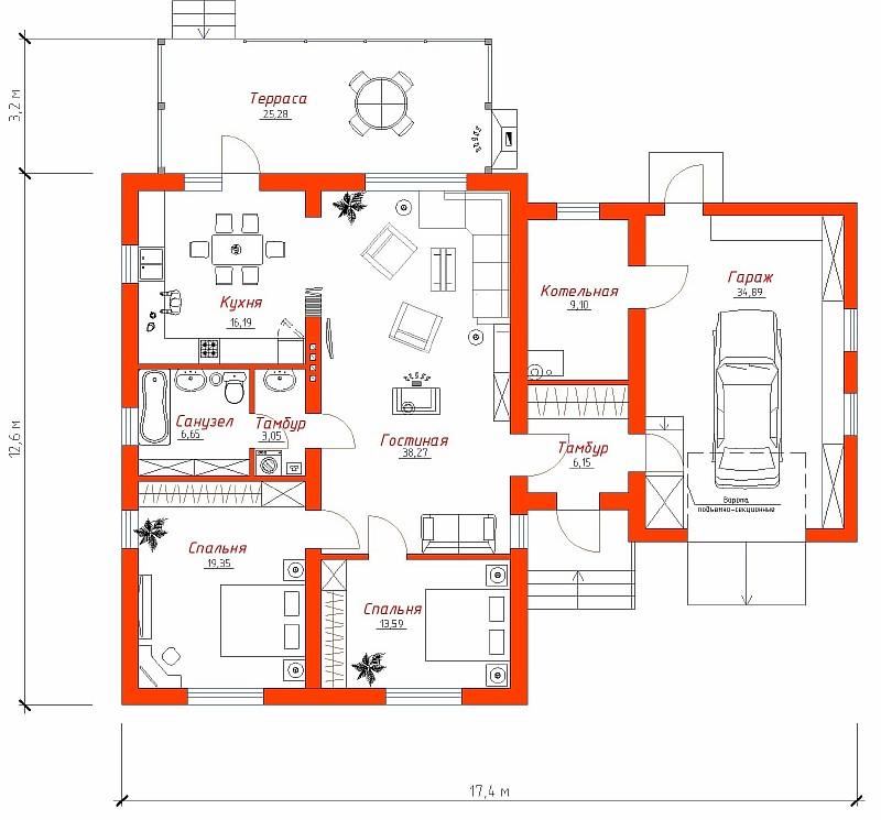 "План дома с гаражом по проекту ""Аспект"""