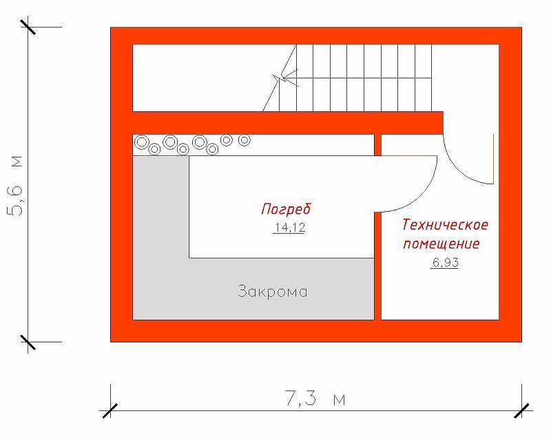 План подвала для гаража под два автомобиля