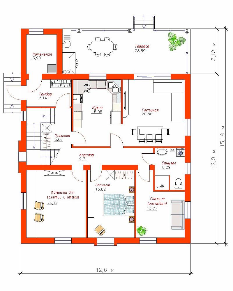 """План 1-ого этажа двухэтажного дома """"Высокий"""""""