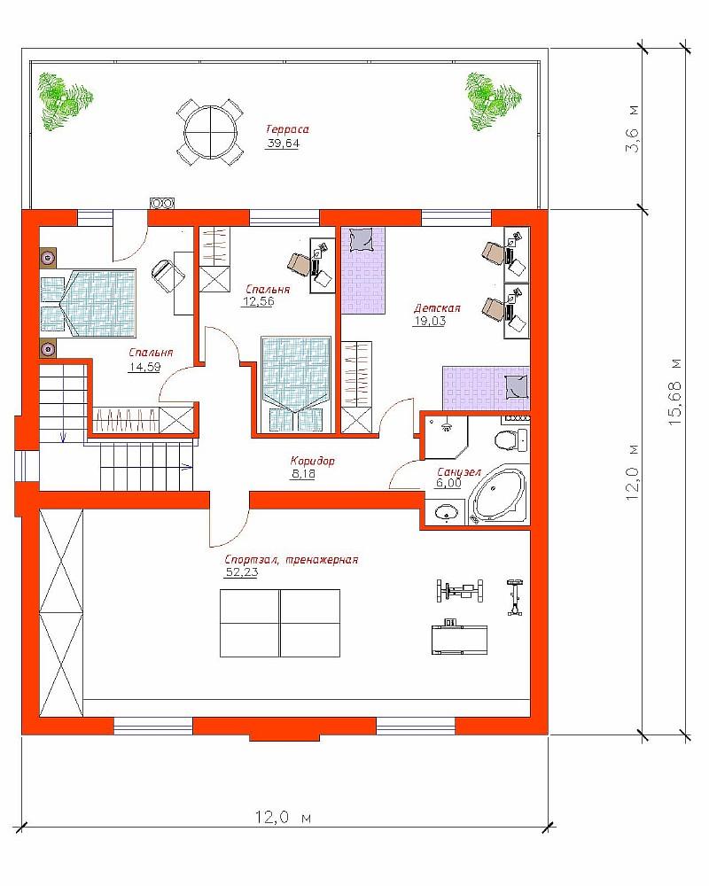 """План 2-ого этажа двухэтажного дома """"Высокий"""""""