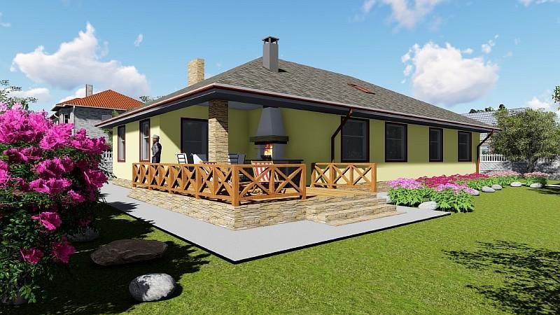 """Визуализация проекта бюджетного одноэтажного дома """"Поселенец"""""""
