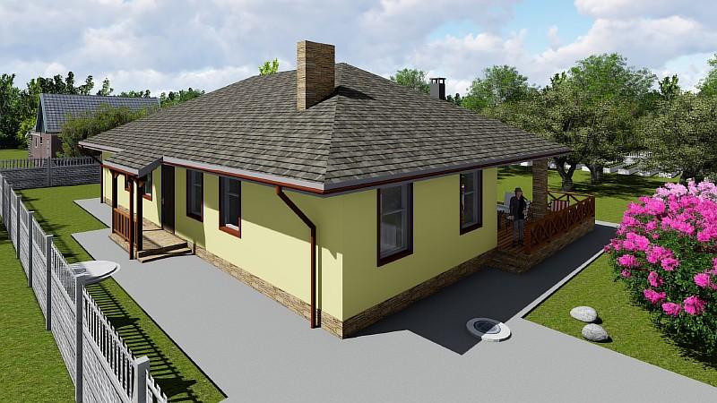"""Визуализация проекта одноэтажного дома """"Поселенец"""""""
