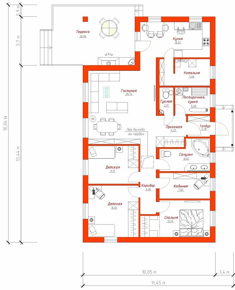 """План одноэтажного бюджетного дома """"Поселенец"""""""