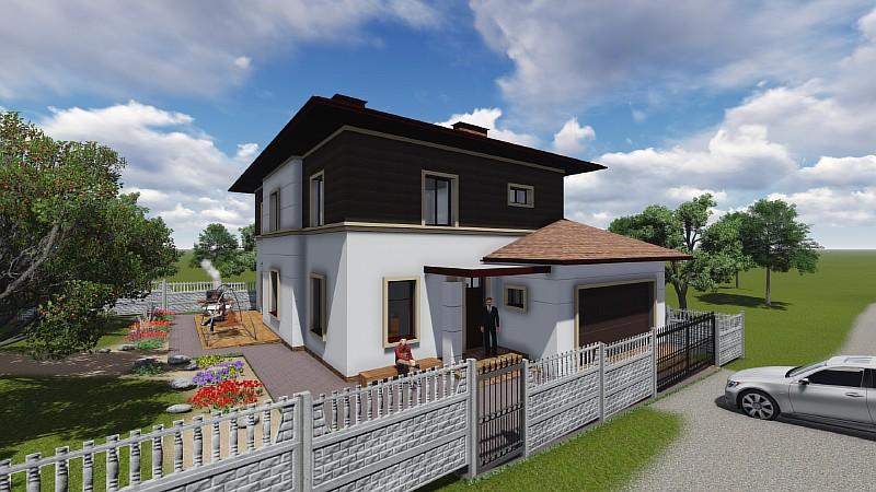 """Проект двухэтажного дома с гаражом на два автомобиля """"Немышля"""" - визуализация"""