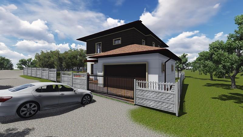 """Визуализация проекта двухэтажного дома с гаражом на два автомобиля """"Немышля"""""""