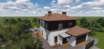 Проект двухэтажного дома с гаражом на два автомобиля «Немышля»