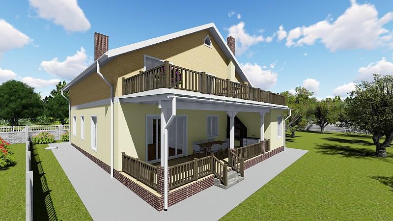 """Проект дома """"Высокий"""" с террасами"""