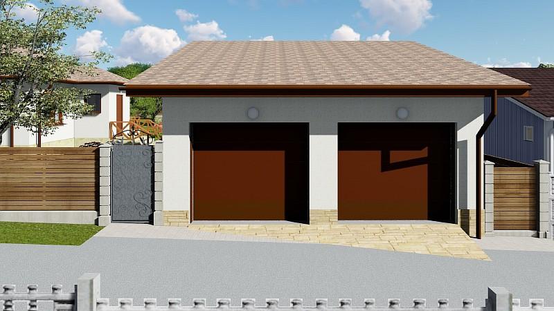 """Визуализация проекта гаража для двух авто с подвалом """"Парочка 2"""""""