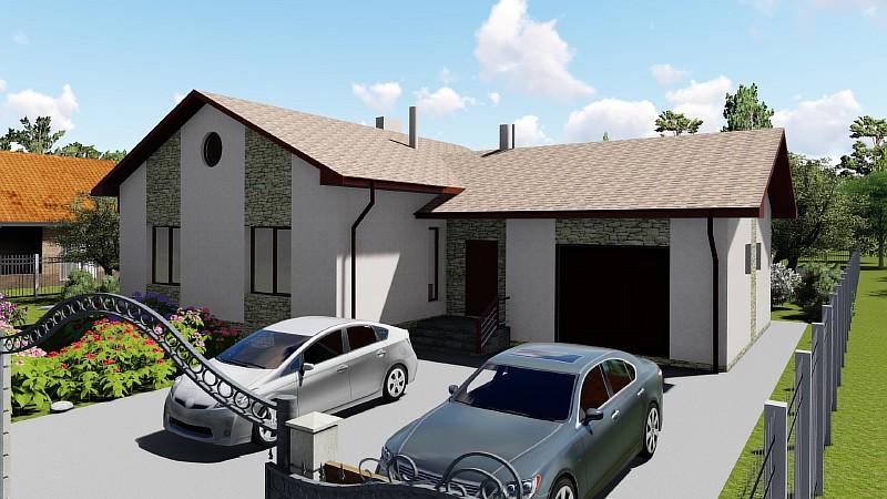 """Одноэтажный дом с гаражом """"Аспект"""" - визуализация проекта"""