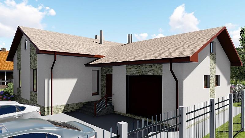 """Проект одноэтажного дом с гаражом """"Аспект"""" - визуализация"""
