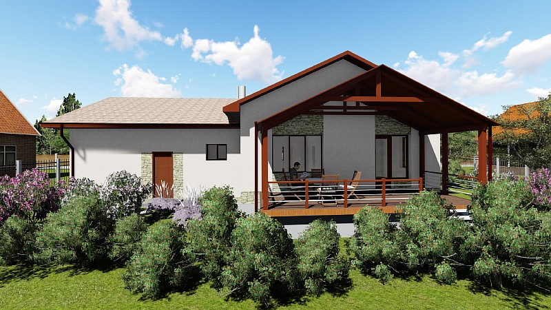 """Бюджетный одноэтажный дом с гаражом и террасой """"Аспект"""" - визуализация"""