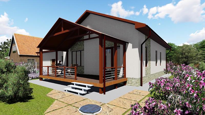 """Визуализация одноэтажного дома с гаражом и террасой """"Аспект"""""""