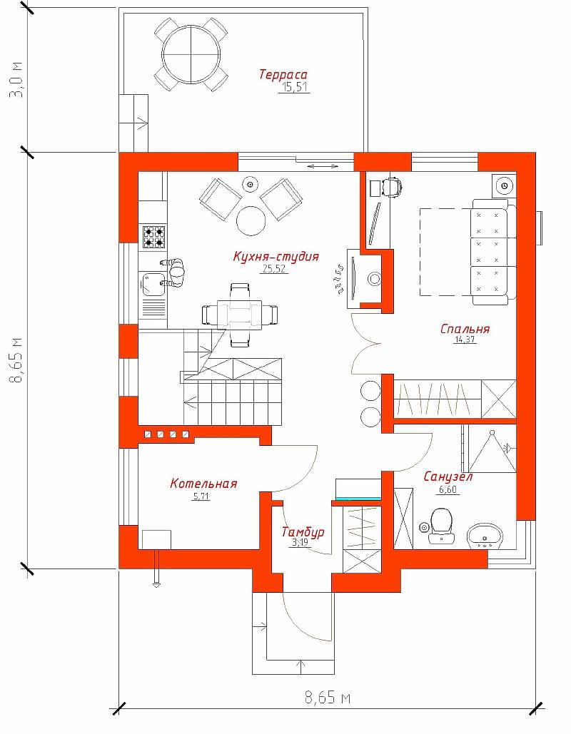 """План 1-ого этажа дома """"Супербюджетный"""""""