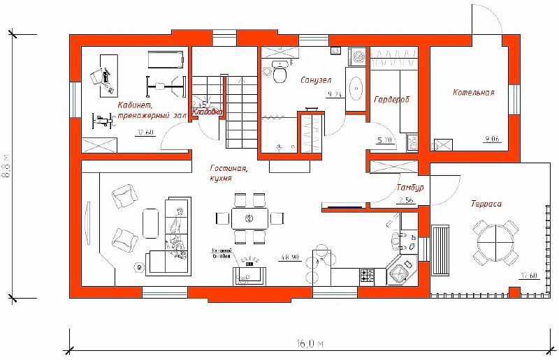 """План 1-ого этажа жилого дома """"Успешный"""""""