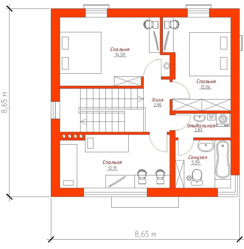 """План 2-ого этажа дома """"Супербюджетный"""""""