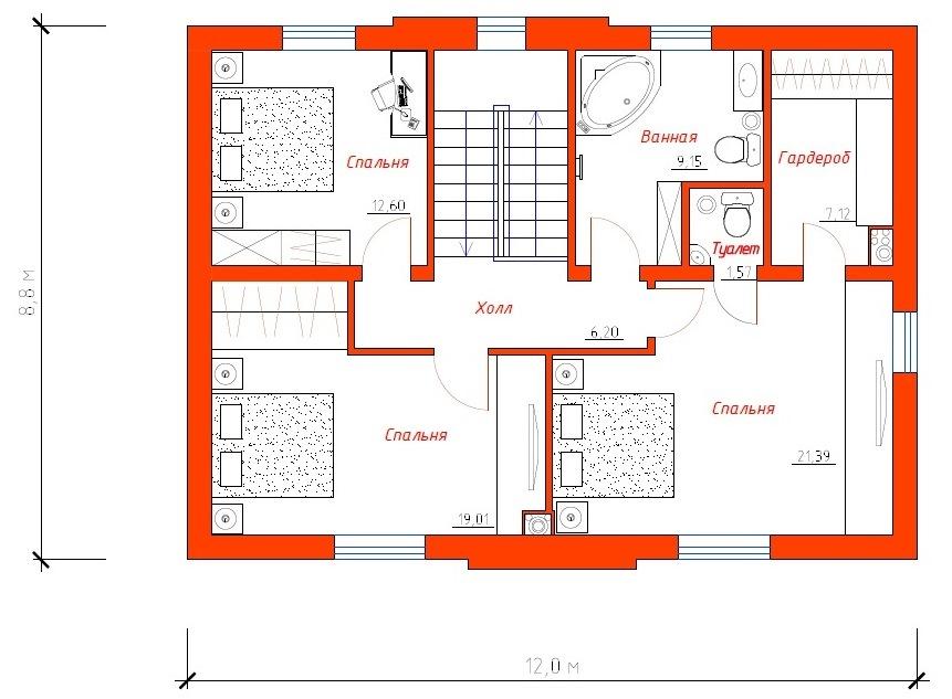 """План 2-ого этажа жилого дома """"Успешный"""""""